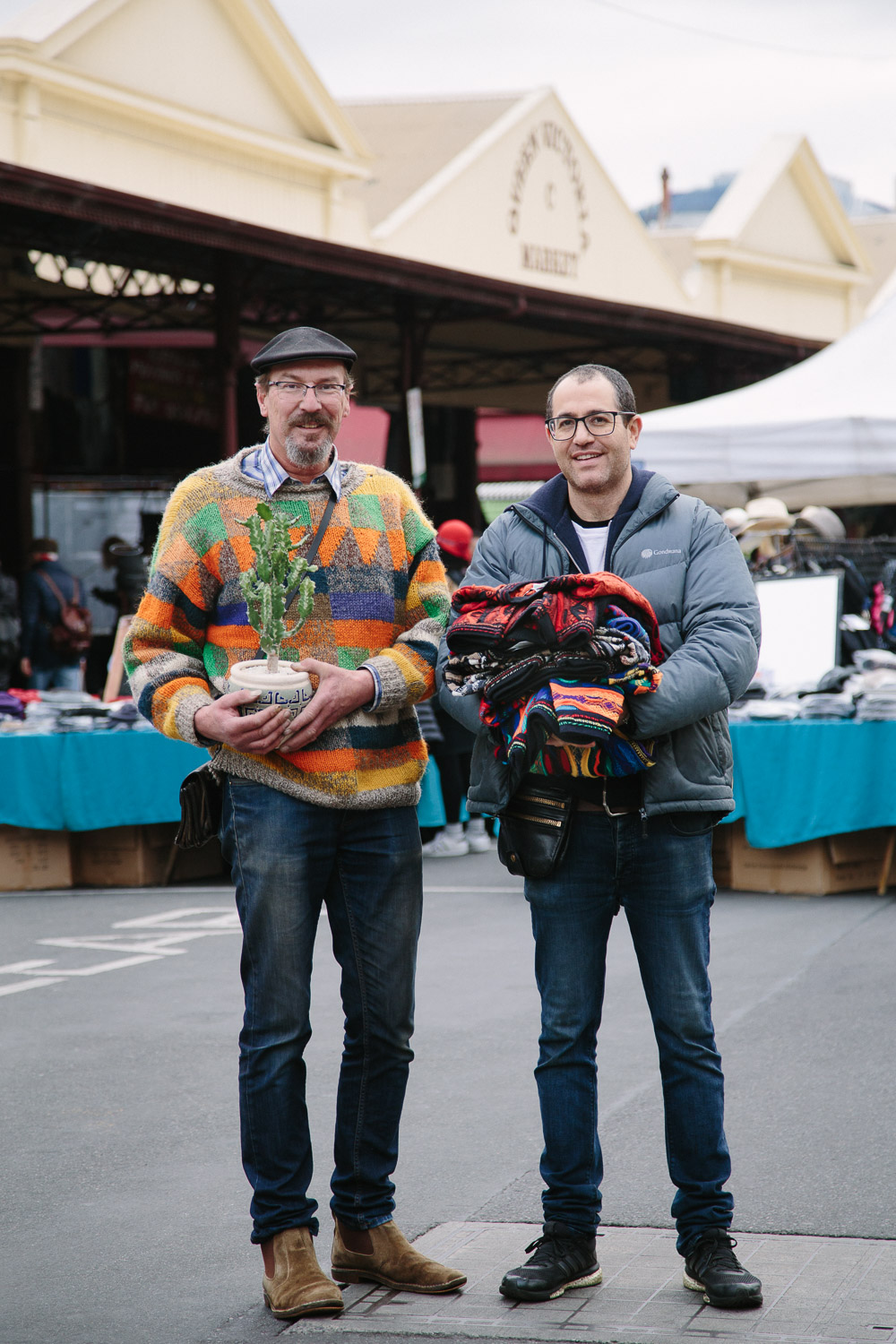 Andrew Thompson (left) of Cactusland and Ariel Lewin of Danny's Knitwear.  Photograph by Emma Byrnes.