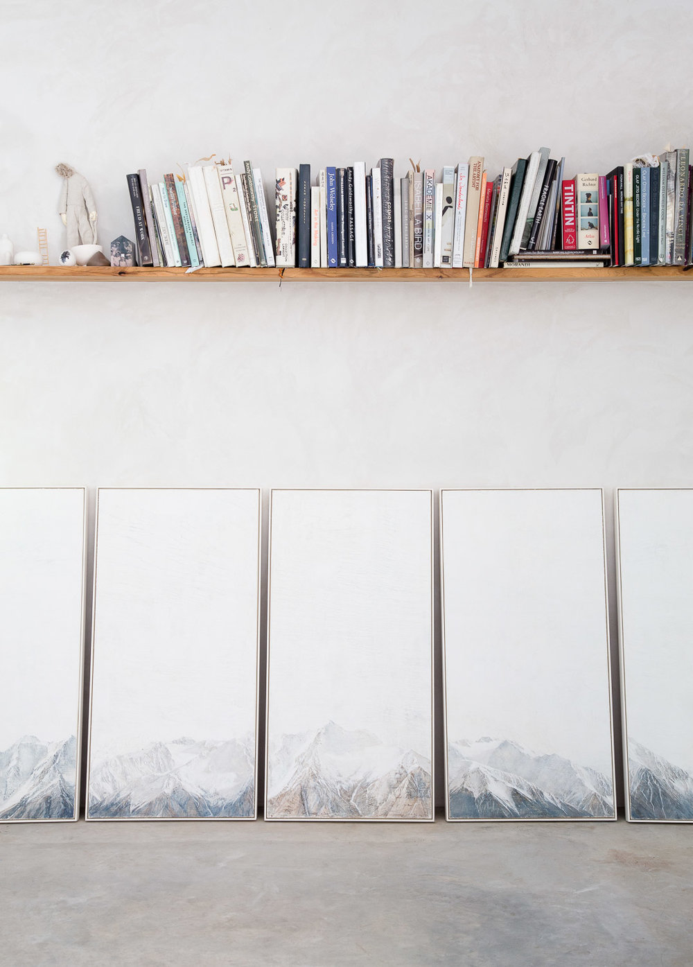 Paintings lined up at Sarah Tomasetti's studio. Photograph by  Emma Byrnes