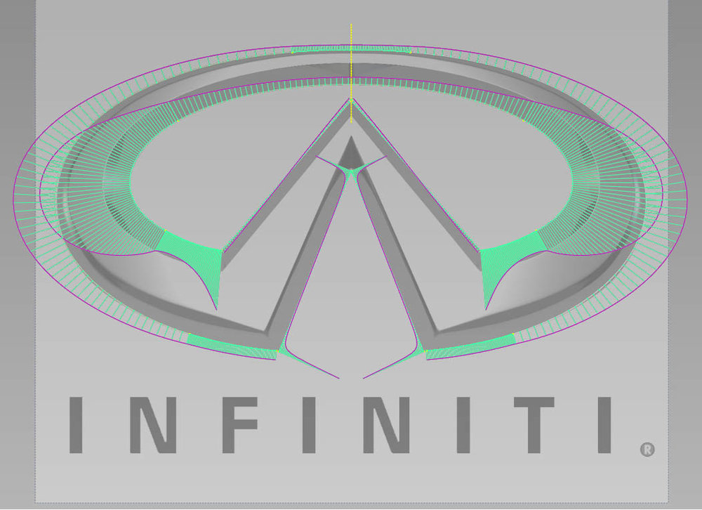 Infiniti logo showing proper curve combs