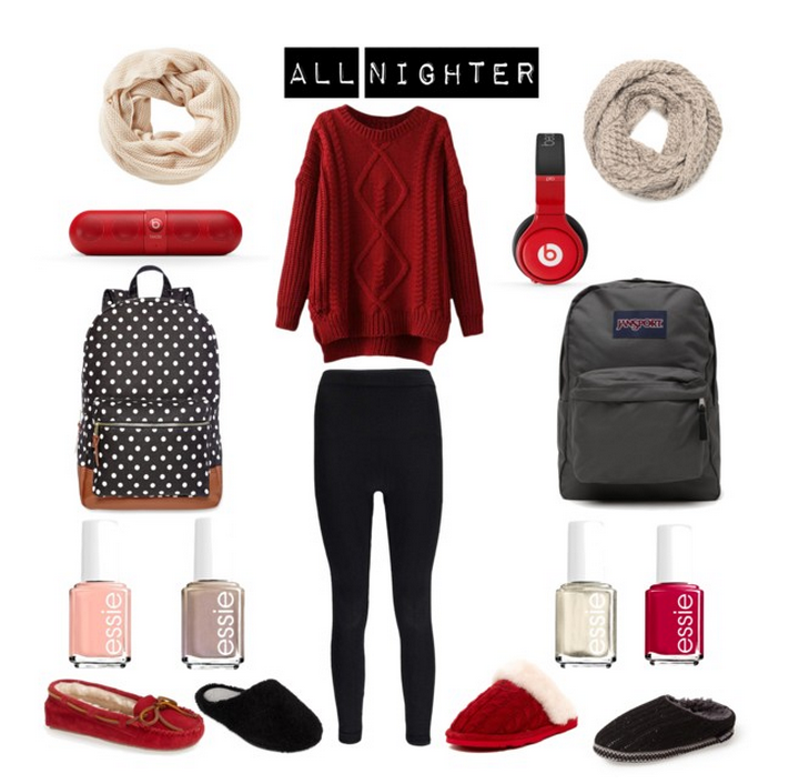 Beats Products  ,  Essie Nail Polish  ,  Leggings  ,  Jansport Backpack  ,  Polkadot Backpack  ,  Ivory Scarf  ,  Sand Scarf  ,  Sweater  ,  Red Moccasins  ,  Left Black Slippers  ,  Red Slide Slippers  ,  Right Black Slippers
