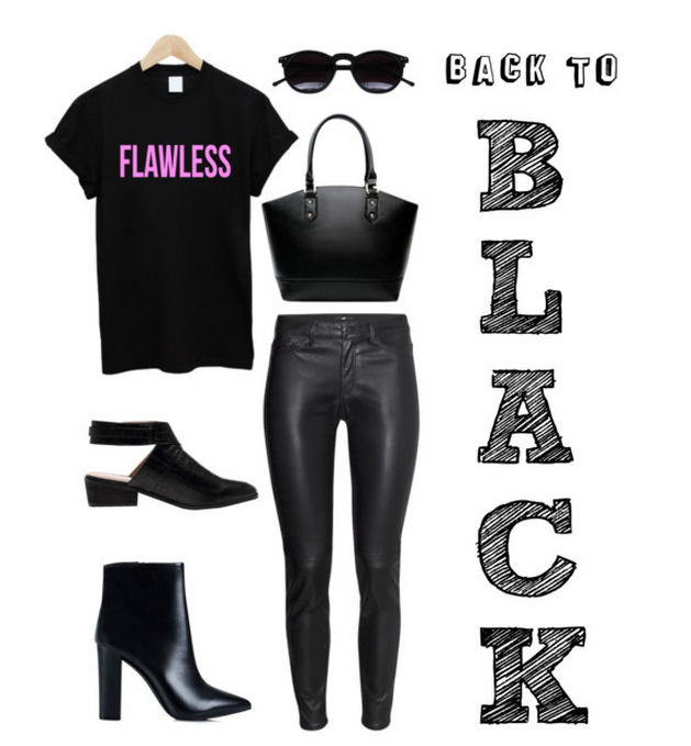 """Flawless"" Tee  ,  Black Sunnies  ,  Purse  ,  Black Faux-Leather Pants  ,  Cut-Out Booties  ,  Pointy Black Ankle Booties"
