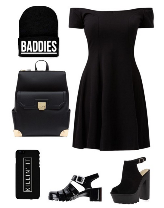 "Skater Dress  ,  ""Baddies"" Beanie  ,  Black Backpack  ,  ""Killin' It"" Phone Case  ,  Primadonna Sandals  ,  Peep=Toe Cleated Platforms"