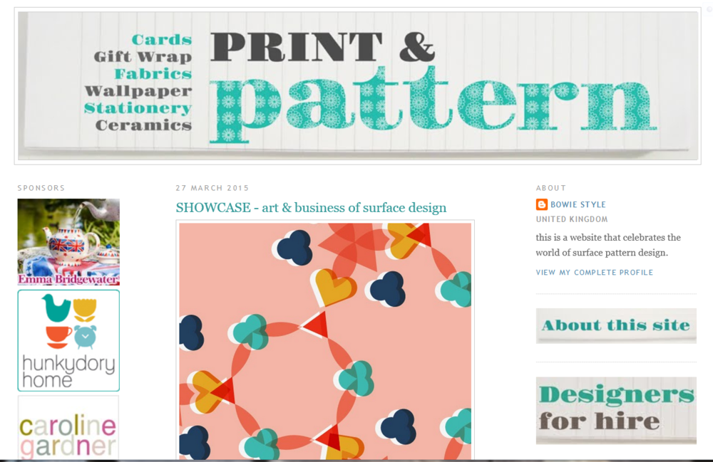 One of my designs from Make It In Design Art and Business of Surface Pattern Design Module 2 is featured in this article on the Print & Pattern Blog.