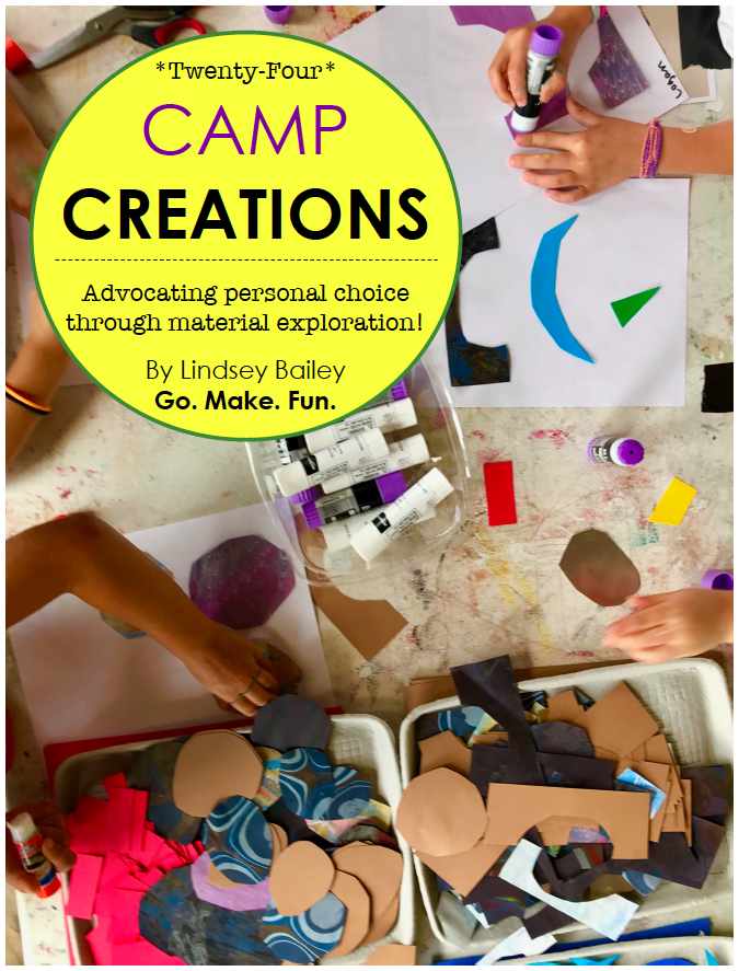 Go. Make. Fun.   - CAMP CREATIONS is the perfect activity book for teachers and parents and kids of all ages!This eBook will lead you and your friends or students through 24 different art projects using a variety of easy-to-find materials. Themed in everything from Woodland Creatures to Space Travel to Art In Motion, CAMP CREATIONS will engage young people and adults in establishing their own creative voice through material exploration and fun!>> A link to purchase this EXCITING book on Amazon will be available soon!! STAY TUNED!! <<Have a fabulous finish to the summer! Go. Make. Fun.**This eBook has been created in partnership with the residency program at The Bascom: a Center For The Visual Arts.