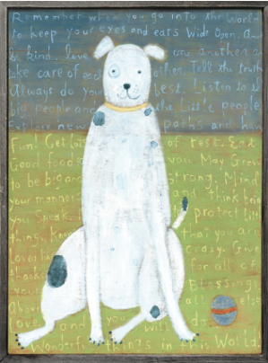 We have this white dog art in our laundry room and everyone loves it when they walk by and see! It is such a fun piece!