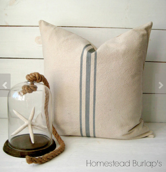 pillow. These pillow covers from Homestead Burlaps via etsy are just the right touch, 2 of these on those chairs would be adorable!