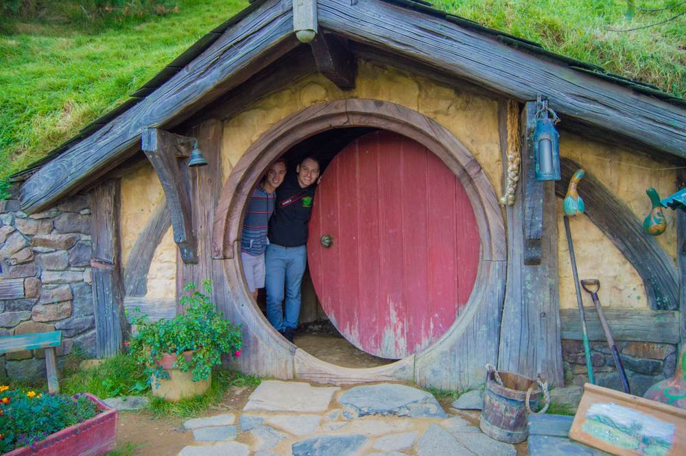 Hanging out in a Hobbit hole in Hobbiton in New Zealand.