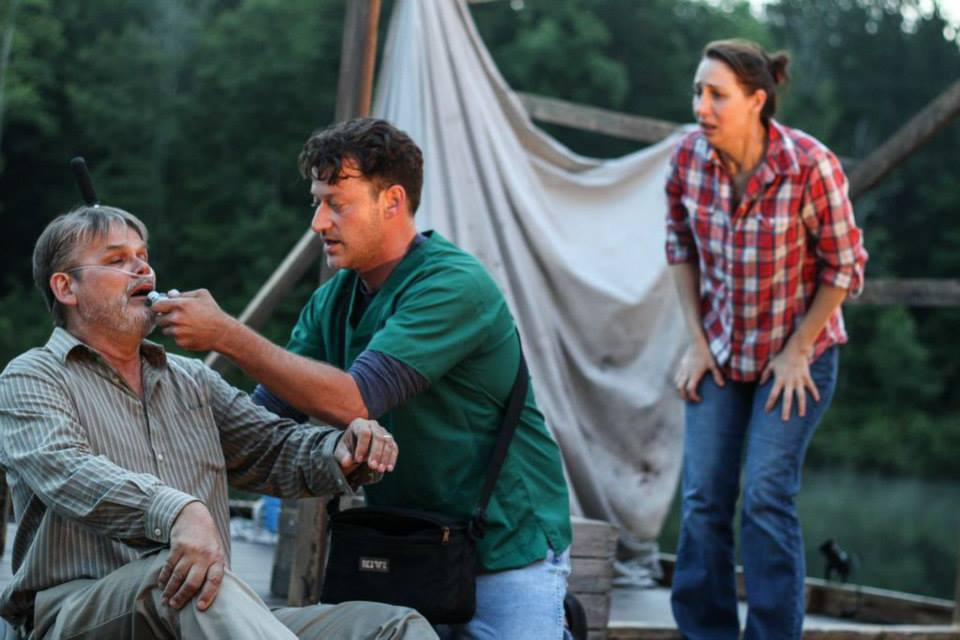 Mark Kincaid (Howard), Bryan Brendle (Donny) and Veronika Duerr (Maggie),  Ten Mile Lake, Serenbe Playhouse , photo by BreeAnne Clowdus