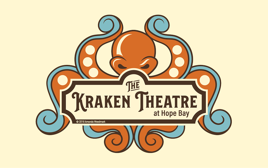 Final logo for The Kraken Theatre, Hope Bay, British Columbia