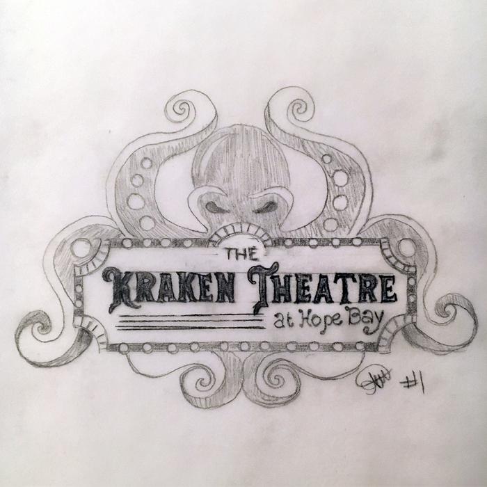 Original sketch of The Kraken Theatre logo