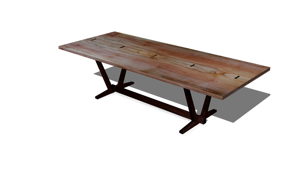 Rendering of a Spalted Maple Dining Table which will be for sale later this summer.