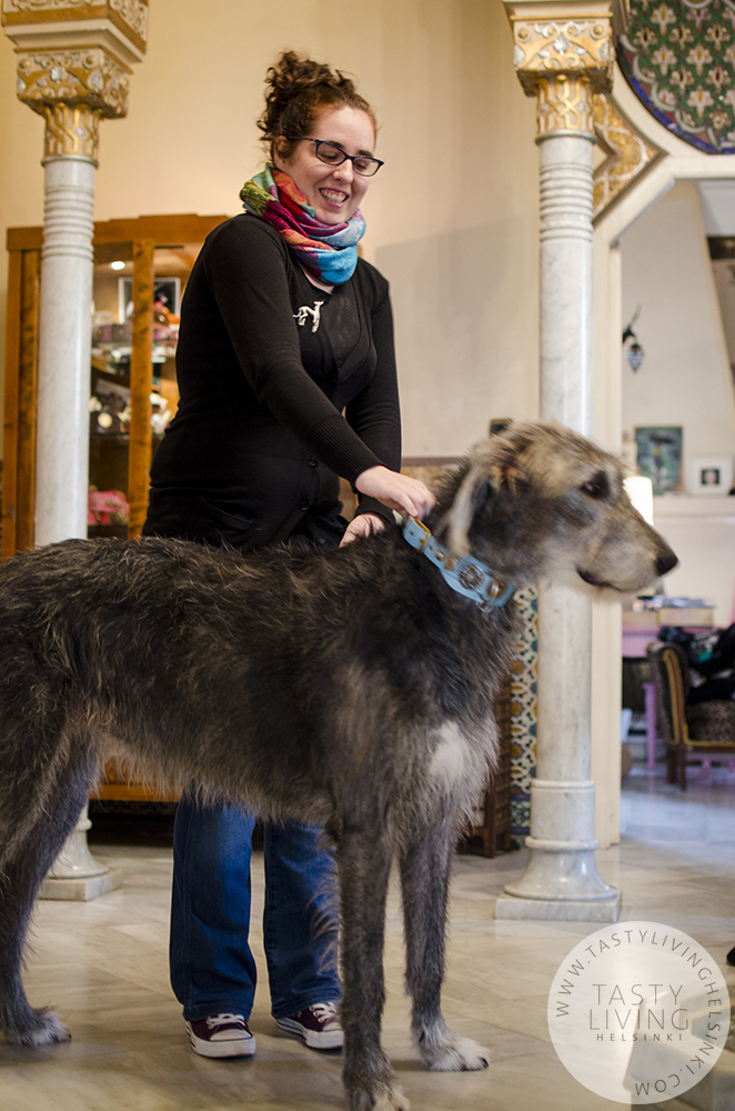 Mireia with   Klea  's Irish wolfhound Grace.