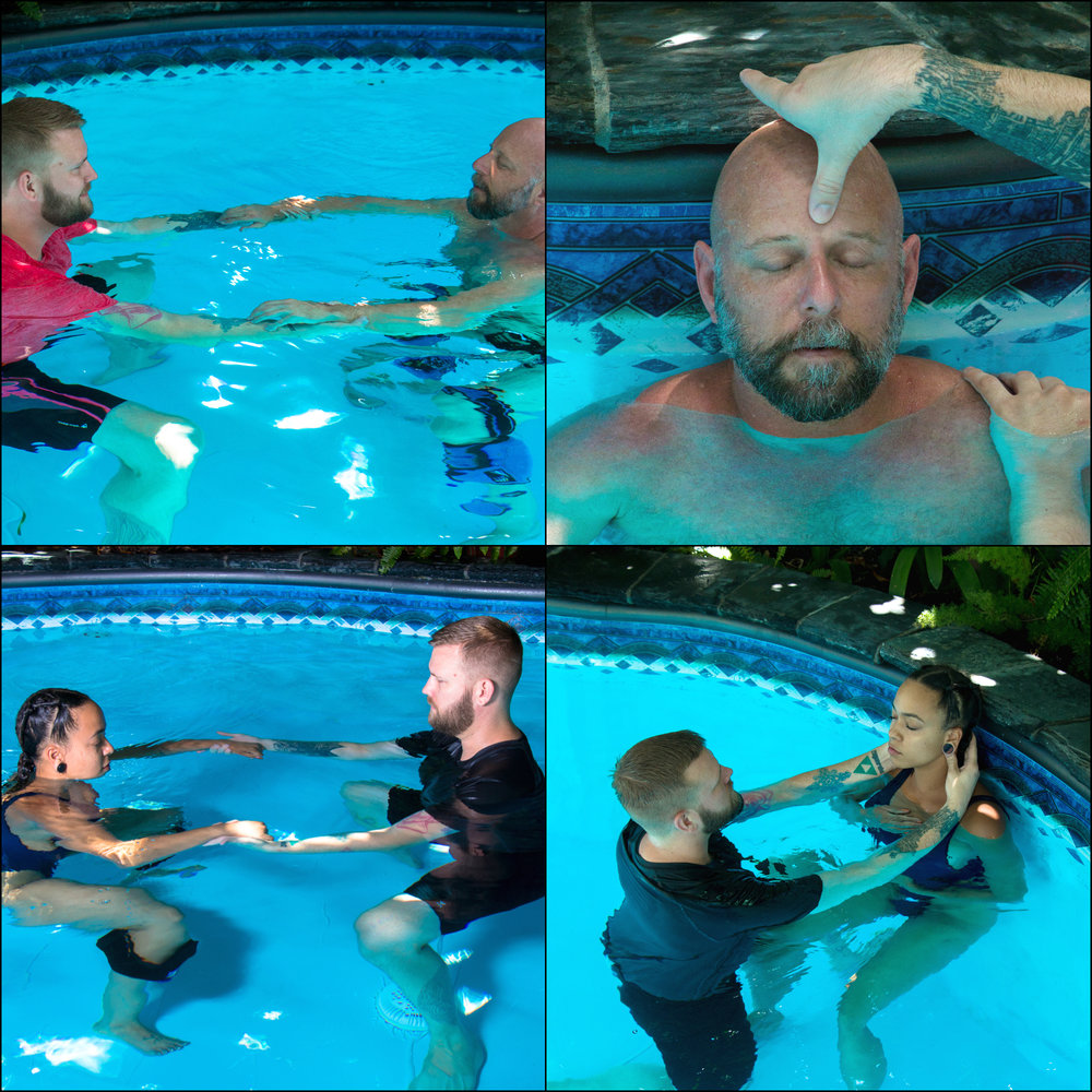 GROUNDING - A typical water session will begin and end with a ritual for grounding the client. Initially, the intention is to introduce them to the water: inviting them to feel the warmth of the pool, to begin to connect with their breath, and work to loosen the body--allowing it to be held the weight of the water with the air in their lungs as support. The session also comes to a close with a docking ceremony on the wall of the pool. This helps to settle the body as gravity is slowly reintroduced, helping the receiver to find their new equilibrium, and for the therapist to find a gentle balance in their body so they can support themselves once more. The gift you give yourself at this moment is to take a few final deep breaths with your eyes closed to capture the feeling of calm and peace, and soak in whatever you may have experienced in the water. A water session can potentially be an intense journey, so it is imperative to make sure the beginning and final moments are as graceful as possible.
