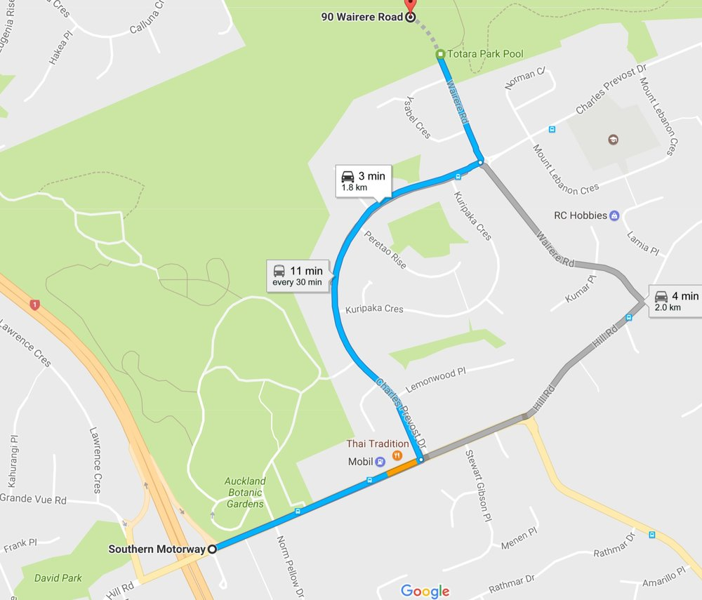 DIRECTIONS TO TOTARA PARK WHEN YOU ARE TRAVELLING FROM THE CITY