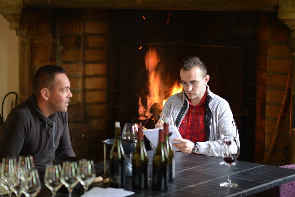 Matt at Domaine Trapet Gevrey Chambertin - tasting their 2014's with Damien Trapet