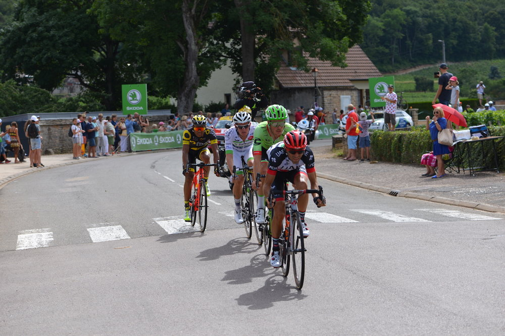 The leaders in this years Tour de France passing through Gevrey Chambertin just behind Hotel Les Deux Chevres on 7 July 2017