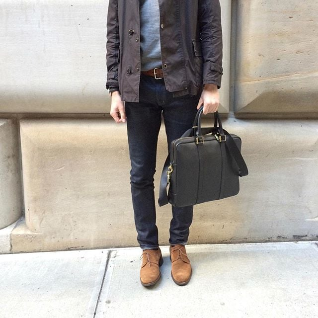Good thing the #BenchmarkBags #briefcase looks great in all weather... Even this unseasonably warm NYC winter! (We're not complaining...) #leathergoods #leatherbags #menstyle #gentlemanstyle #dapper