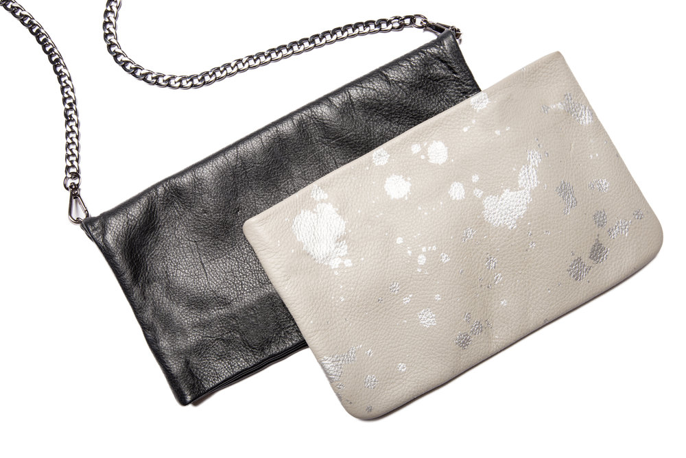 JENNIFER JETT LEATHER CLUTCH & LAUREN SILVER SPLATTER CLUTCH
