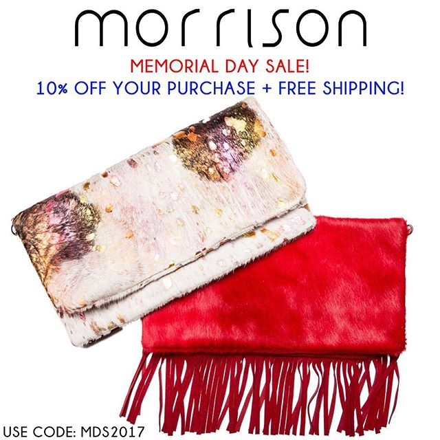 Now until Monday... 10% off your order AND free shipping! #memorialdaysale #sale #handbags #accessories #leather #local #dallas #designer #handmade #houseofmorrison #morrison #clutch #tote #fringe #bag #lotd #custom #fashion #trend #gift