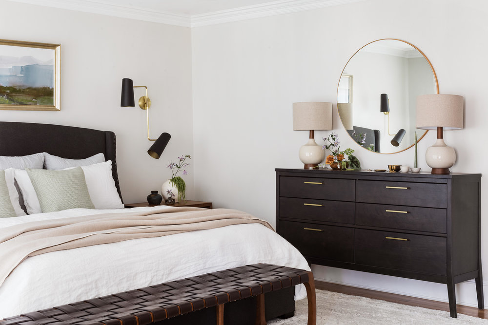 mid-century master bedroom