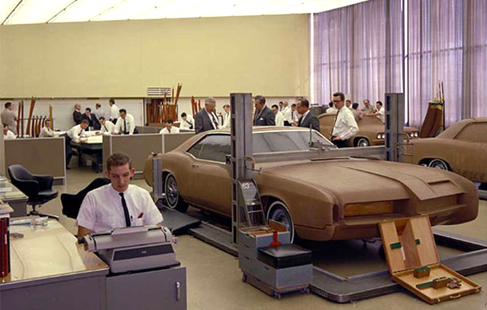 Historical GM Design photo demonstrates the DNA of Harley Earl. Every car maker in the global automotive economy today follows this exact technological template (pre-engineering a car or truck ahead of time) in full-size clay model mode within a state-of-the-art automobile design department.
