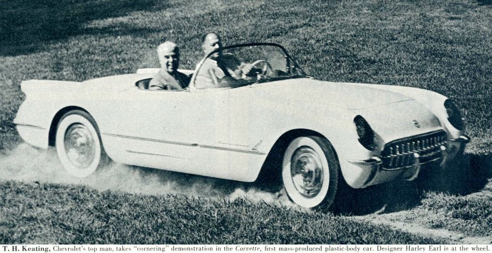 "LOOK magazine article,states, Harley and Thomas Keating, Chevrolet's top man, takes ""cornering"" demonstration in the Corvette, first mass-produced plastic-body car. Designer Harley Earl is at the wheel."