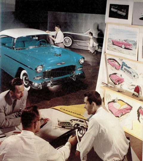 This photo above (notice original full-size Corvette rendering cross promoting new '55 Chevy) shows how GM began leveraging the new Corvette brand to sell other Chevrolet products from the very beginning. Why? Because the sports car was an overnight sensation in the public eye and hence a huge promotional home run for GM. The first Corvette came to life in the Chevy Studio of GM Styling at the Argo Bldg. in downtown Detroit.