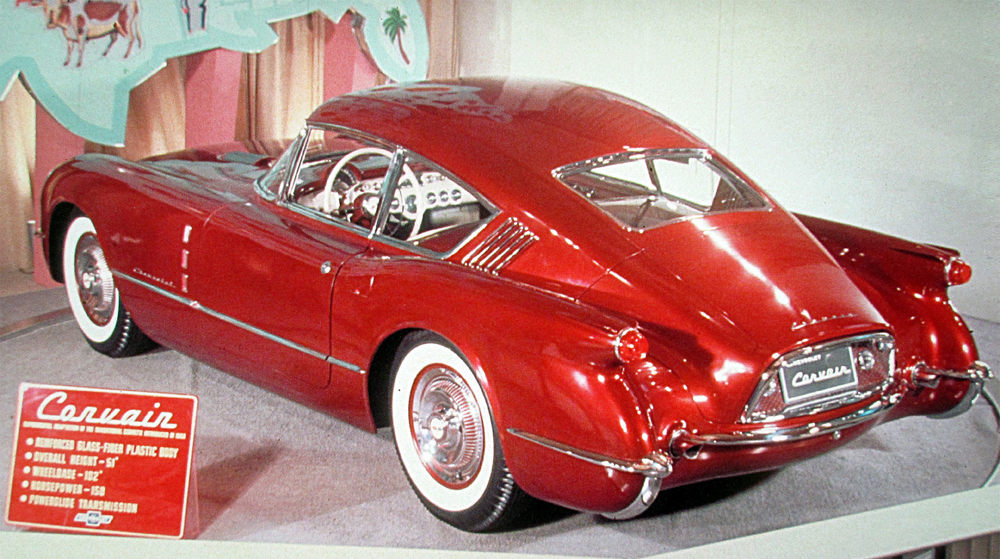 "'54 Chevy Corvette Corvair ""fast back"" design. Harley's vision was to see that what Corvette was doing for the Chevrolet Div., the Wildcat II (Buick's new V-8 sports car offering) would go on to do the same thing for the Buick Div. Of course Harley had no intentions for this recipe to stop with just two of GM's ""Fabulous Five Brands"" so he continued and developed other high performance vehicles (you could call them GM's earliest post WW II muscle cars) by creating La Espada and El Camino for the Cadillac luxury brand; Oldsmobile had the F-88 and Harley and his team gave Pontiac the Bonneville Special."