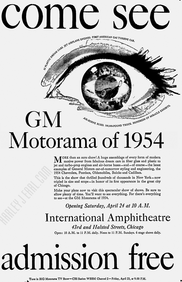"Another vivid full-page Motorama newspaper ad promoting GM's revolutionary, ""Twelve Plastic Dream Cars."""