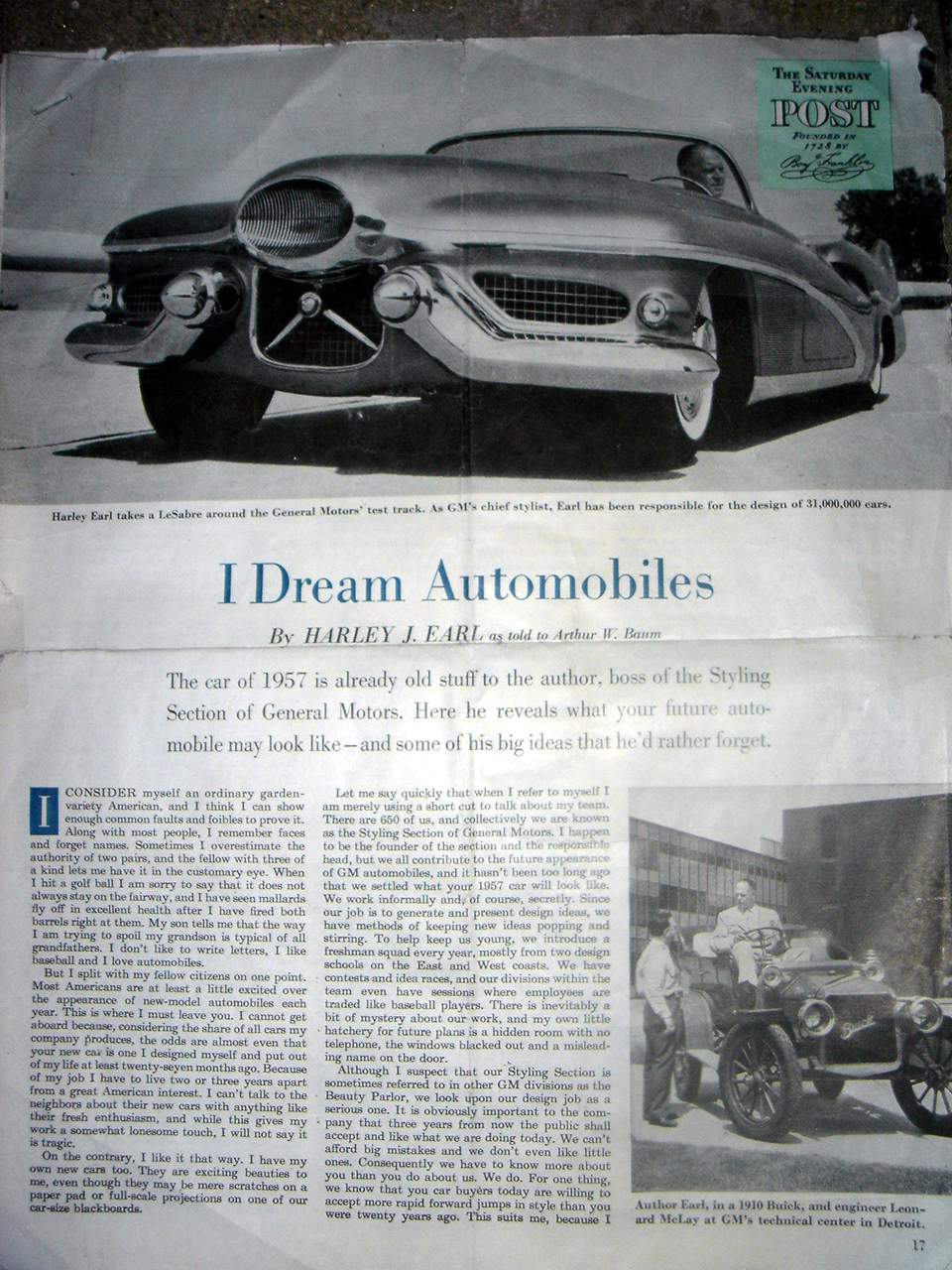 '54 I Dream Automobiles article written by HJE