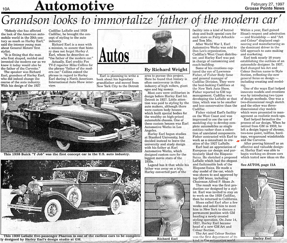 The newspaper articles, above and below, demonstrates how long Richard has been working on documenting early parts of Corvette history.