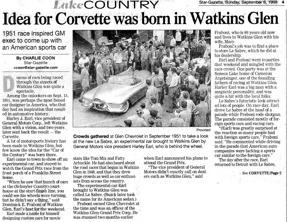 This article on Harley's Idea Born in Glen nails down the essentials on this great story behind the beginning of the Corvette.