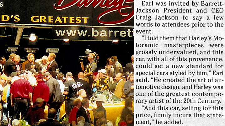 "Richard gaining street-cred speaking at Barrett-Jackson in 2005. ""U.S. Auto Scene"" newspaper clip above; entire article further down."