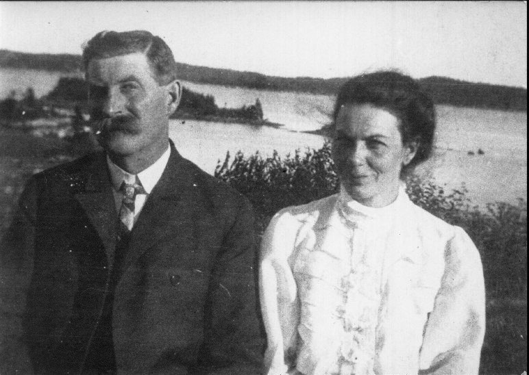 The Gerrard's with Gerard Island in the background. (From the Gerrard Family  online archives )