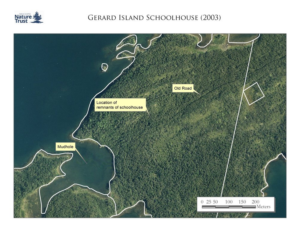Location of the schoolhouse on Gerard Island from a 2003 aerial photo.