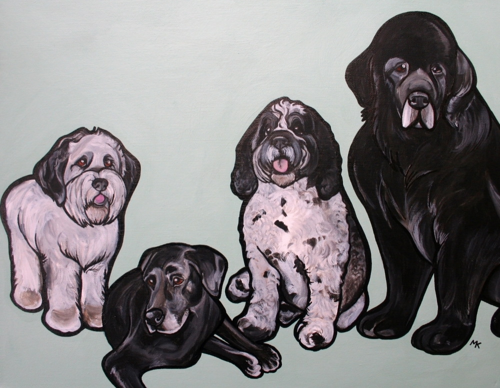 This was a tricky painting because all of these dogs were not alive at the same time. I had to look through a TON of photos and communicate a lot with the client to make sure I had their relative size correct. Now all of the dogs get to hang out for the first time in this painting! How cool is that??