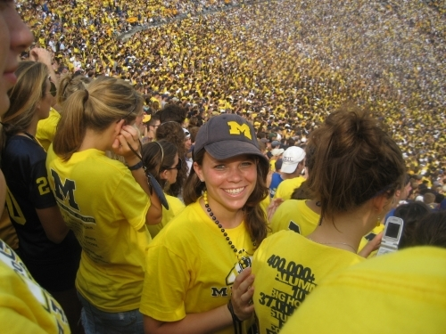 Melissa in 2007 at the Big House in the Ann Arbor, MI. Go Blue!