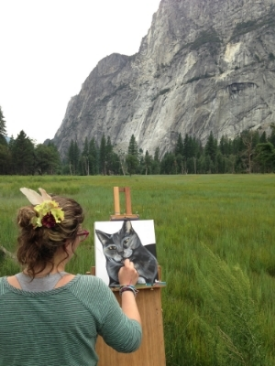 """Live painting"" in Yosemite National Park during her 2013 West Coast Tour"