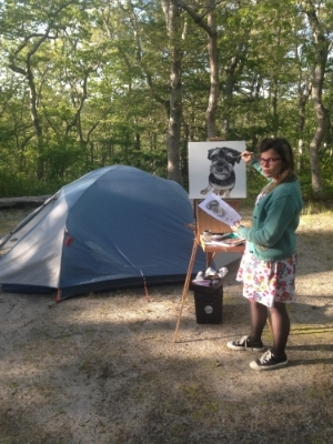 "Painting ""Frankie"" at Nickelson State Park Campground in Brewster, MA."
