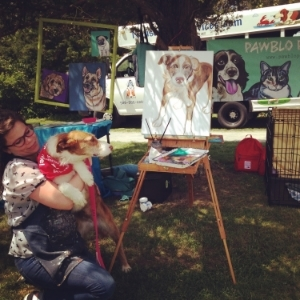"Here I am with Fern at the Animal Rescue League's ""Paws in the Park"" event in Brewster, MA"