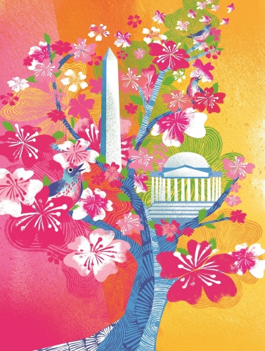 Poster created by 2015 National Cherry Blossom Festival  Official Artist  Jing Jing Tsong./ Image from National Cherry Blossom Festival