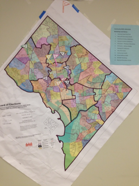 A map displays where Brainfood MVP students served their community/Photo by Holly Leber