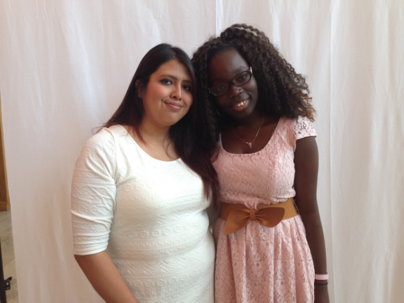 Noemi Sanchez and Prusse Kakpova, Gandhi Brigade youth mentors./ Photo by Holly Leber