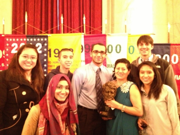 Students with Librada Paz (holding her Robert F. Kennedy Human Rights Award/Photo contributed by Katie Gould