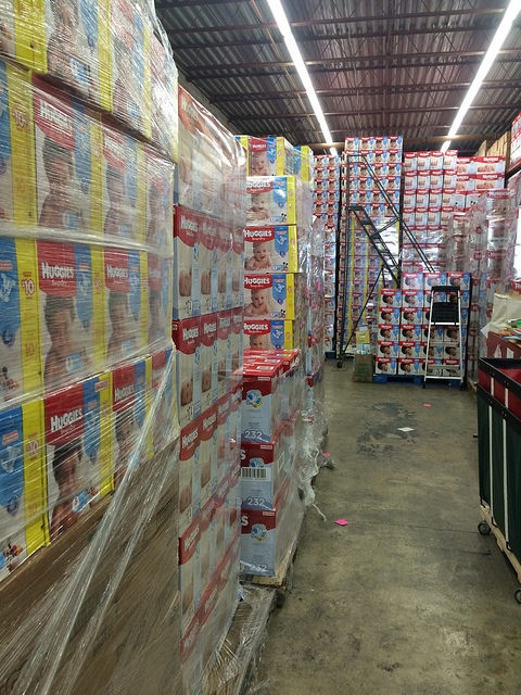 Diaper donations in the DC Diaper Bank Warehouse/ Photo courtesy of DC Diaper Bank