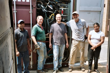 The first container to ship to Sri Lanka in 2005/Photo courtesy of Bikes for the World
