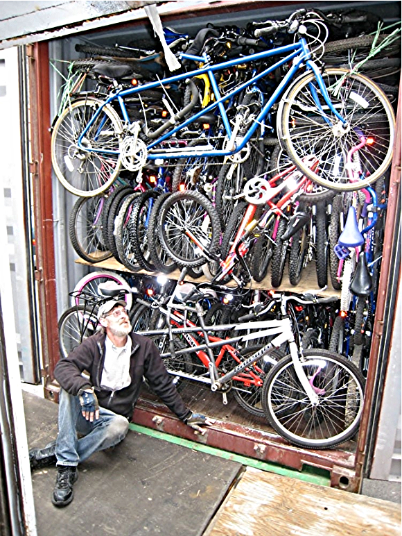 Loading a crate to ship to Costa Rica./Photo courtesy of Bikes for the World