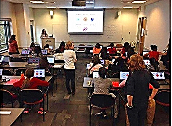 Volunteers lead a coding workshop/Photo credit: DC Web Women