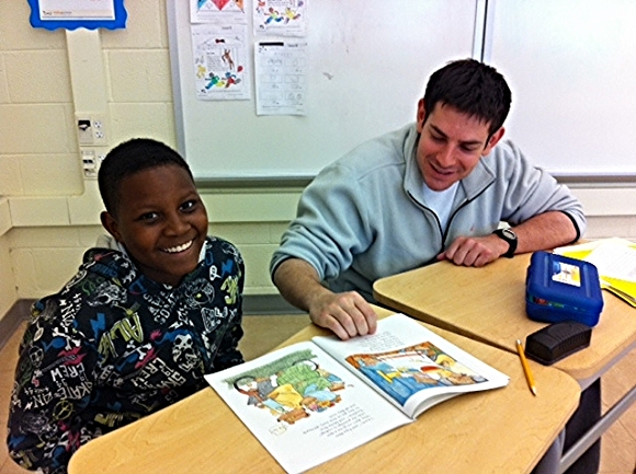 Tutor Dave works with student Emmanuel./Photo courtesy of Reading Partners