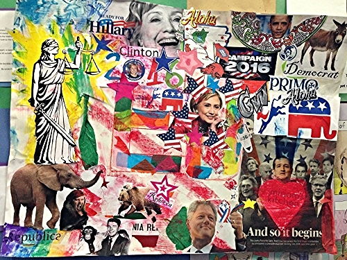 Michael created this collage at Miriam's Studio